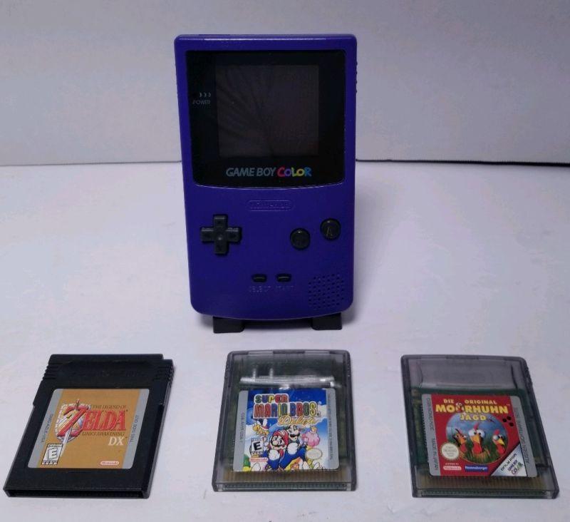 Game Boy Color Grape/Purple, 3 games, Zelda DX & Mario